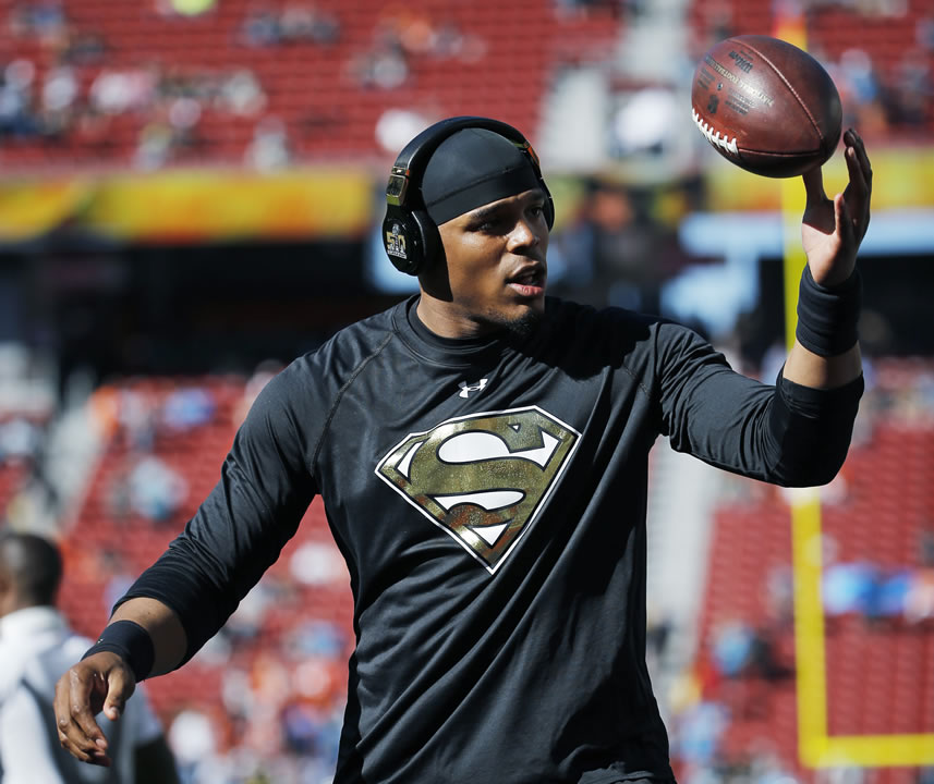 <div class='meta'><div class='origin-logo' data-origin='none'></div><span class='caption-text' data-credit='AP Photo/Matt Slocum'>Panthers' Cam Newton arrives for warm ups before the NFL Super Bowl 50 football game against the Denver Broncos, Sunday, Feb. 7, 2016, in Santa Clara, Calif.</span></div>