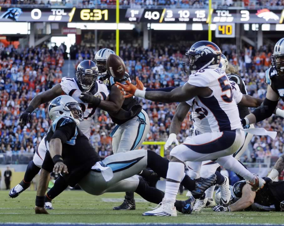 <div class='meta'><div class='origin-logo' data-origin='none'></div><span class='caption-text' data-credit='AP Photo/Julie Jacobson'>Carolina Panthers' Cam Newton (1) is sacked as Denver Broncos' Von Miller (58) reaches for the ball during the Super Bowl 50 on Sunday, Feb. 7, 2016, in Santa Clara, Calif.</span></div>