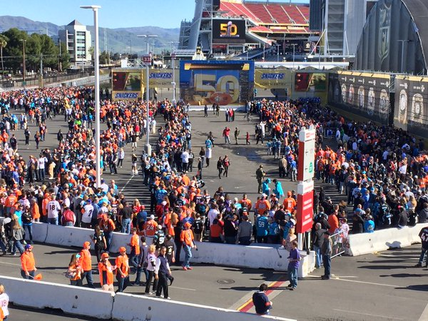 <div class='meta'><div class='origin-logo' data-origin='none'></div><span class='caption-text' data-credit='KGO-TV'>A large crowd is seen in front Levi's Stadium in Santa Clara, Calif. on Sunday, February 7, 2016.</span></div>