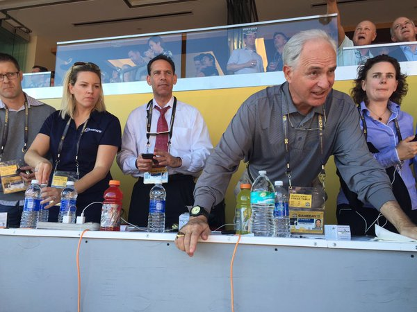 <div class='meta'><div class='origin-logo' data-origin='none'></div><span class='caption-text' data-credit='KGO-TV'>ABC7 News Sports Anchors Mike Shumann and Larry Beil are hard at work during Super Bowl 50 at Levi's Stadium in Santa Clara, Calif. on Sunday, February 7, 2016.</span></div>