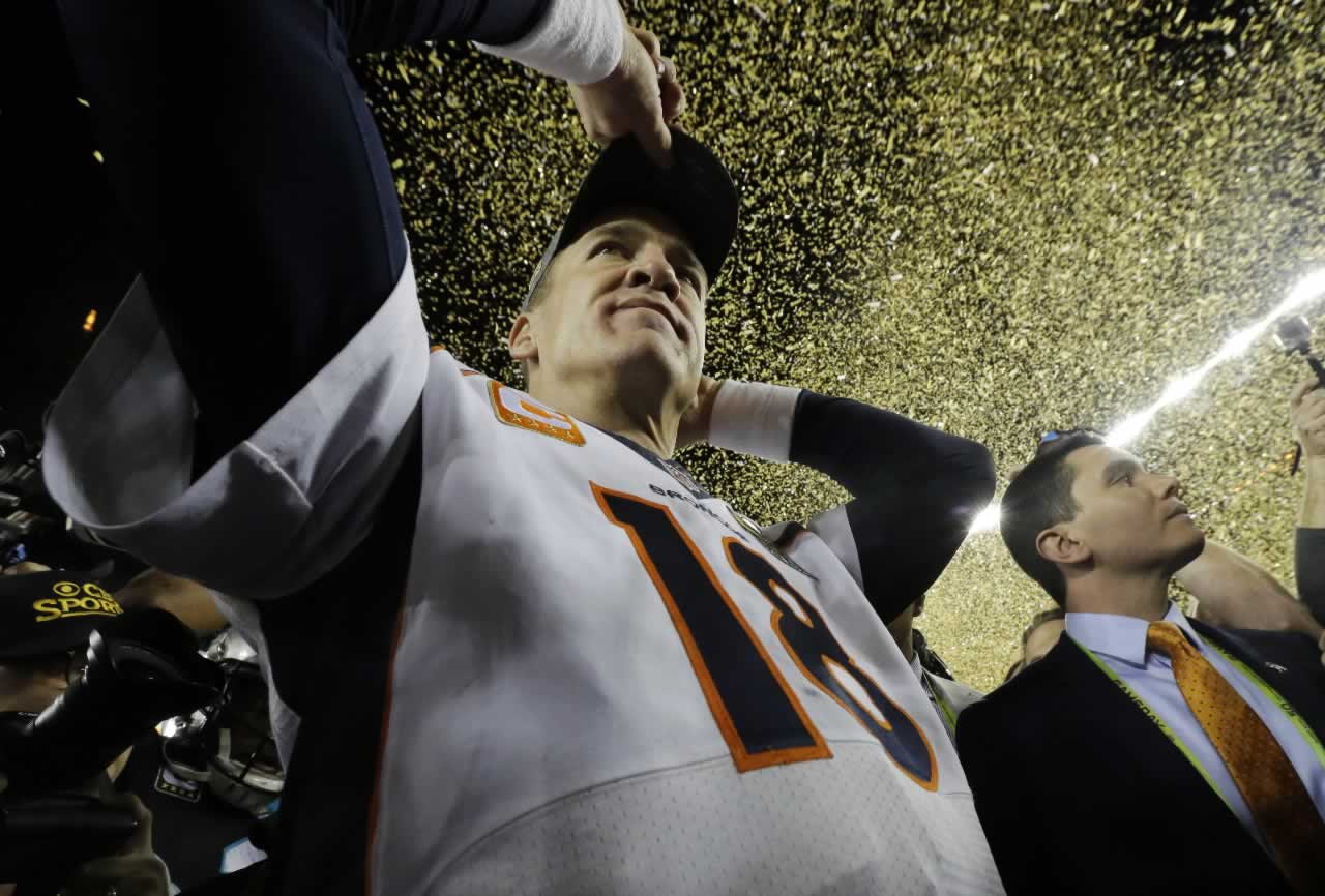 <div class='meta'><div class='origin-logo' data-origin='none'></div><span class='caption-text' data-credit='AP Photo/Julio Cortez'>Denver Broncos' Peyton Manning walks on the field after their win against the Carolina Panthers in the NFL Super Bowl 50 football game Sun, Feb. 7, 2016, in Santa Clara, Calif.</span></div>
