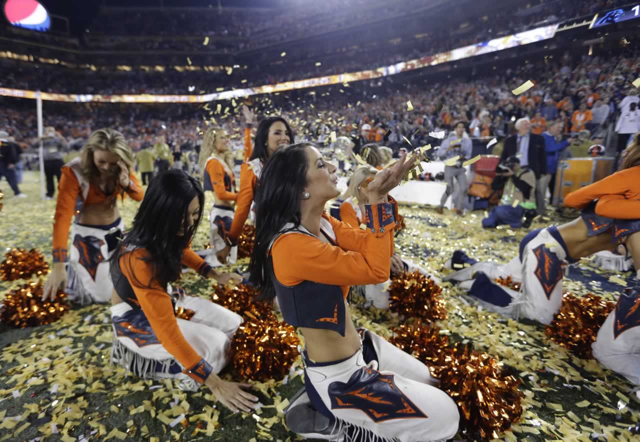 <div class='meta'><div class='origin-logo' data-origin='none'></div><span class='caption-text' data-credit='AP Photo/Jae C. Hong'>Broncos cheerleaders celebrate after the NFL Super Bowl 50 football game against the Carolina Panthers, Sunday, Feb. 7, 2016, in Santa Clara, Calif.</span></div>