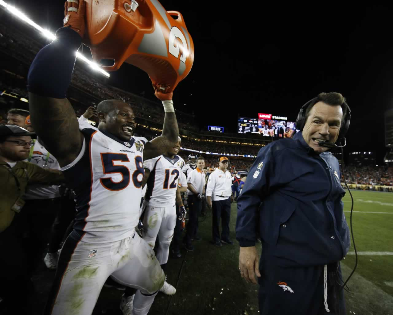 <div class='meta'><div class='origin-logo' data-origin='none'></div><span class='caption-text' data-credit='AP Photo/Matt Slocum'>Broncos head coach Gary Kubiak reacts after getting soaked with a sports drink by Von Miller after the NFL Super Bowl 50 football game Sunday, Feb. 7, 2016, in Santa Clara, Calif.</span></div>