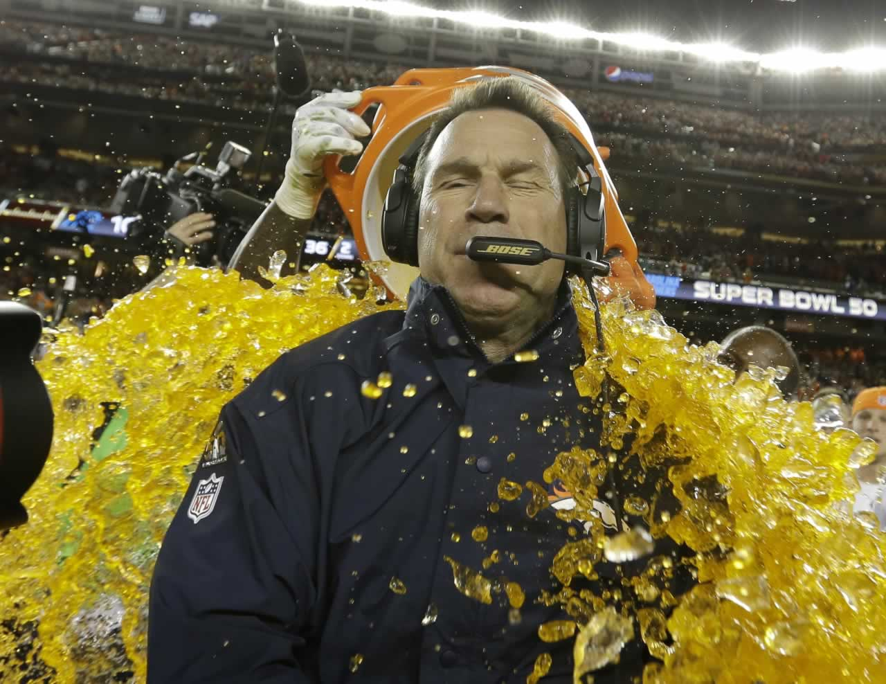 <div class='meta'><div class='origin-logo' data-origin='none'></div><span class='caption-text' data-credit='AP Photo/David J. Phillip'>Denver Broncos' head coach Gary Kubiak is doused with Gatorade during the second half of the NFL Super Bowl 50 football game Sunday, Feb. 7, 2016, in Santa Clara, Calif.</span></div>