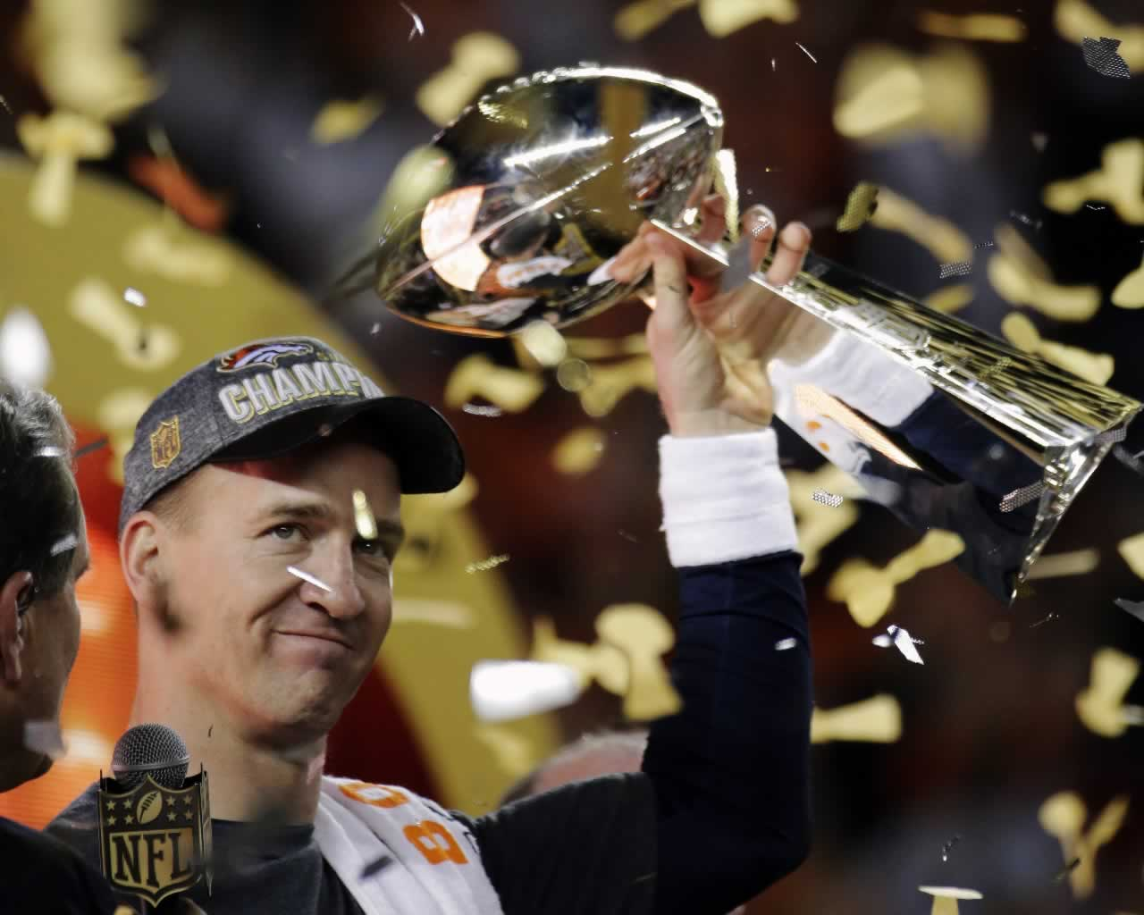 <div class='meta'><div class='origin-logo' data-origin='none'></div><span class='caption-text' data-credit='AP Photo/Julie Jacobson'>Broncos' Peyton Manning holds the Vince Lombardi Trophy after the NFL Super Bowl 50 football game Sunday, Feb. 7, 2016, in Santa Clara, Calif.</span></div>