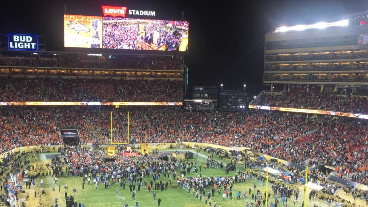 <div class='meta'><div class='origin-logo' data-origin='none'></div><span class='caption-text' data-credit='KGO-TV'>Football fans walk among confetti after Super Bowl 50 at Levi's Stadium in Santa Clara, Calif. on Sunday, February 7, 2016.</span></div>