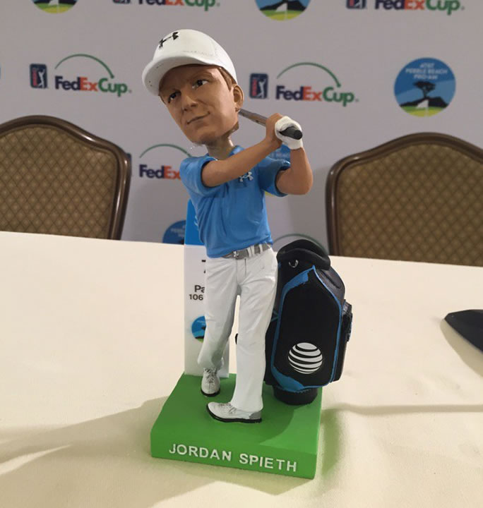 <div class='meta'><div class='origin-logo' data-origin='none'></div><span class='caption-text' data-credit='KGO-TV/Mike Shumann'>Bobbleheads fashioned after the winning 22-year-old pro golfer Jordan Spieth will be given away on Saturday, February 13, 2016 at the AT&T Pebble Beach Pro-Am.</span></div>