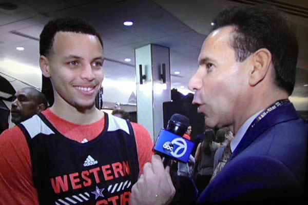 """<div class=""""meta image-caption""""><div class=""""origin-logo origin-image kgo""""><span>KGO</span></div><span class=""""caption-text"""">ABC7's Larry Beil interviews Stephen Curry at the NBA All-Star Weekend in New York. (KGO-TV /Larry Beil)</span></div>"""