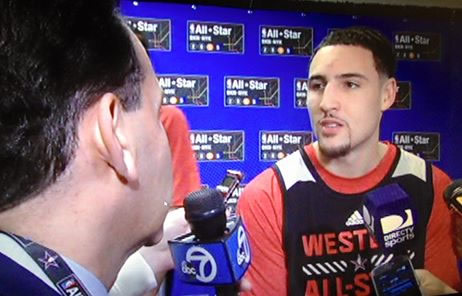 """<div class=""""meta image-caption""""><div class=""""origin-logo origin-image kgo""""><span>KGO</span></div><span class=""""caption-text"""">ABC7's Larry Beil interviews Klay Thompson at the NBA All-Star Weekend in New York.  (KGO-TV /Larry Beil)</span></div>"""