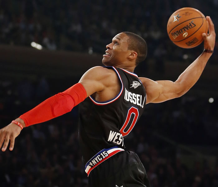 """<div class=""""meta image-caption""""><div class=""""origin-logo origin-image none""""><span>none</span></div><span class=""""caption-text"""">West Team's Russell Westbrook, of the Oklahoma City Thunder, dunks the ball during the first half of the NBA All-Star basketball game on Feb. 15, 2015, in New York. (AP Photo)</span></div>"""