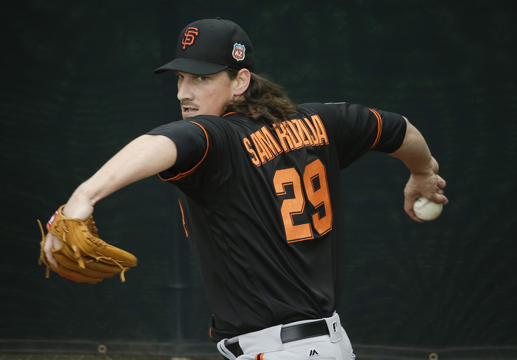 "<div class=""meta image-caption""><div class=""origin-logo origin-image none""><span>none</span></div><span class=""caption-text"">San Francisco Giants starting pitcher Jeff Samardzija throws during practice before the spring baseball season in Scottsdale, Ariz., Thursday, Feb. 18, 2016.  (AP Photo/Chris Carlson)</span></div>"