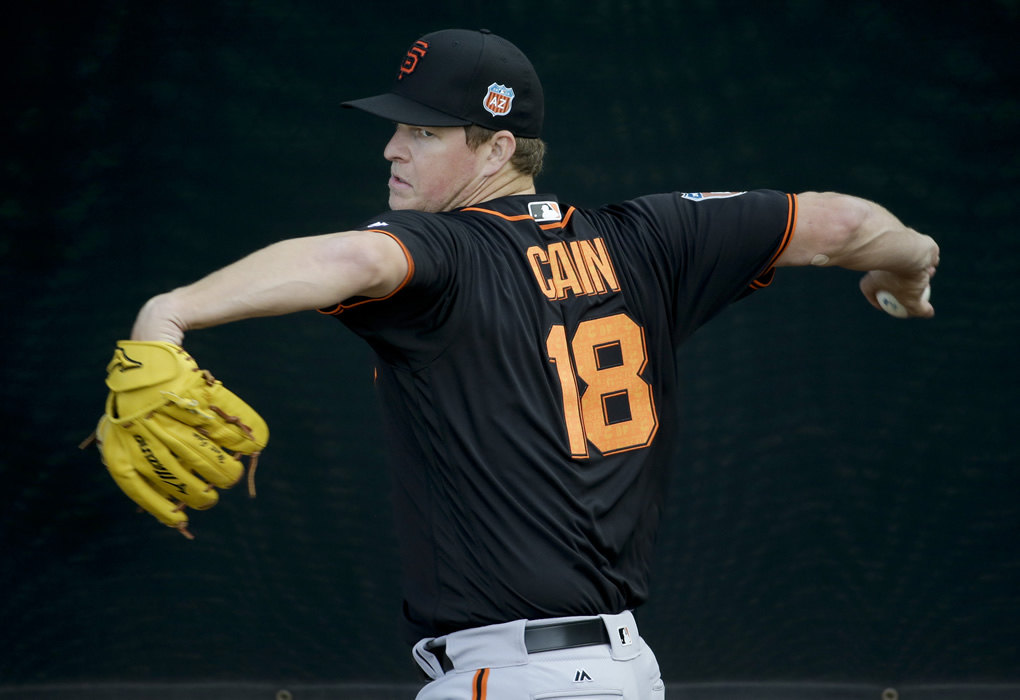 "<div class=""meta image-caption""><div class=""origin-logo origin-image none""><span>none</span></div><span class=""caption-text"">San Francisco Giants starting pitcher Matt Cain throws during practice before the spring baseball season in Scottsdale, Ariz., Thursday, Feb. 18, 2016.  (AP Photo/Chris Carlson)</span></div>"
