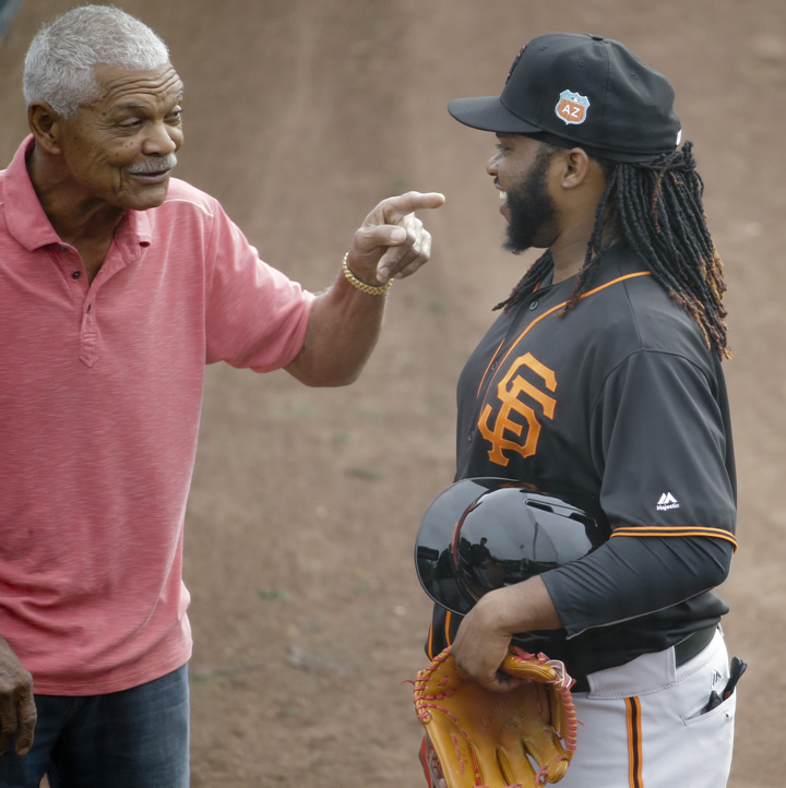 "<div class=""meta image-caption""><div class=""origin-logo origin-image none""><span>none</span></div><span class=""caption-text"">San Francisco Giants pitcher Johnny Cueto, right, talks with former manager Felipe Alou during practice for the spring baseball season in Scottsdale, Ariz., Thursday, Feb. 18, 2016 (AP Photo/Chris Carlson)</span></div>"
