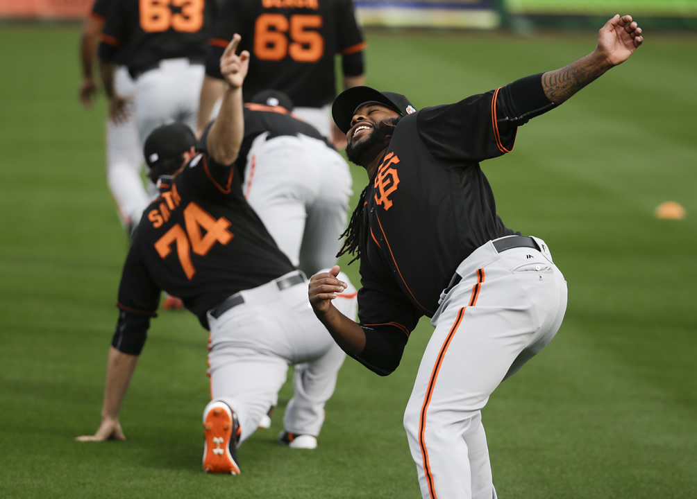 "<div class=""meta image-caption""><div class=""origin-logo origin-image none""><span>none</span></div><span class=""caption-text"">San Francisco Giants pitcher Johnny Cueto warms up during practice for the spring baseball season in Scottsdale, Ariz., Feb. 18, 2016.  (AP Photo/Chris Carlson)</span></div>"