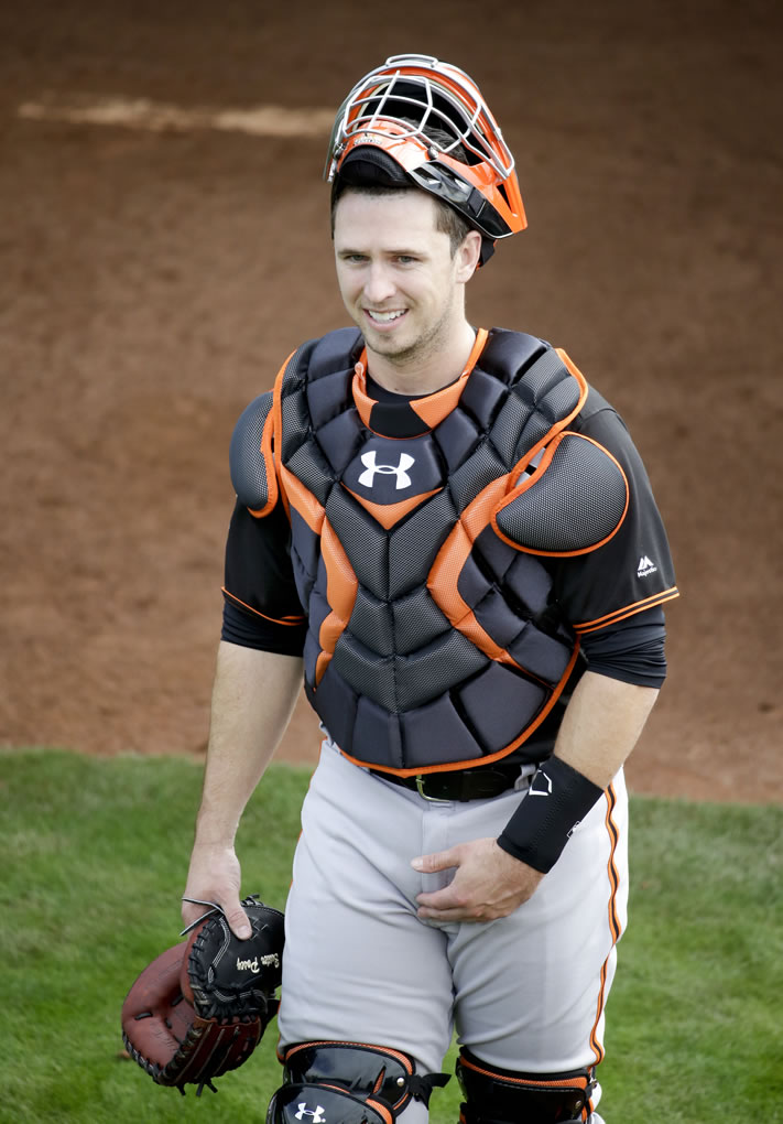 "<div class=""meta image-caption""><div class=""origin-logo origin-image none""><span>none</span></div><span class=""caption-text"">San Francisco Giants catcher Buster Posey smiles during practice before the spring baseball season in Scottsdale, Ariz., Thursday, Feb. 18, 2016.  (AP Photo/Chris Carlson)</span></div>"