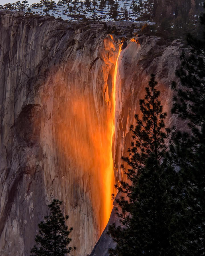 <div class='meta'><div class='origin-logo' data-origin='none'></div><span class='caption-text' data-credit='Photo submitted to KGO-TV by @jeffreyplui/Instagram'>This image taken in February 2016 shows the waterfall at Horsetail Falls in Yosemite National Park illuminated by the sunset.</span></div>