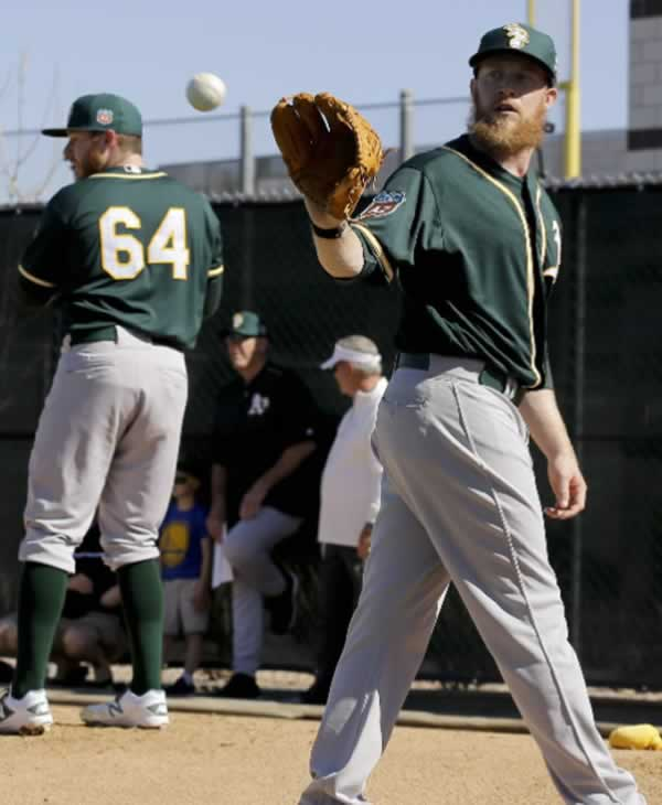 """<div class=""""meta image-caption""""><div class=""""origin-logo origin-image none""""><span>none</span></div><span class=""""caption-text"""">Oakland Athletics relief pitcher Sean Doolittle, right, throws with his brother Ryan Doolittle, left, during spring training baseball practice in Mesa, Ariz., Sun., Feb. 21, 2016. (AP Photo/Chris Carlson)</span></div>"""