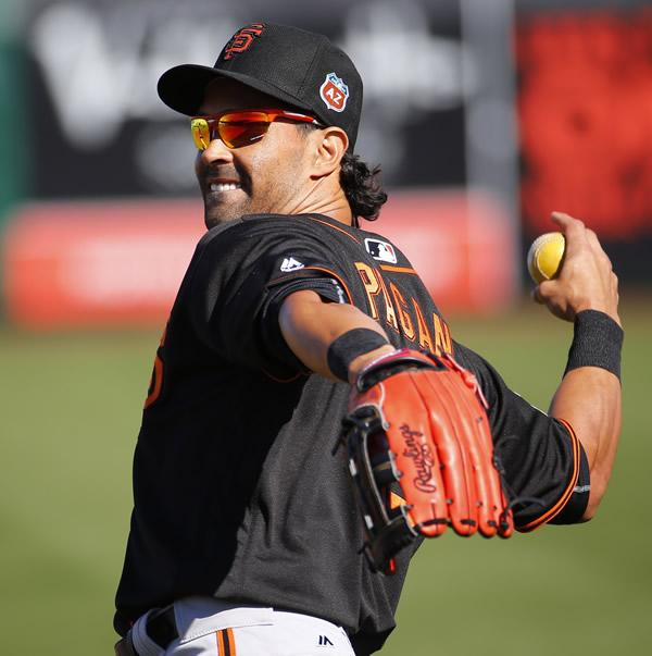 "<div class=""meta image-caption""><div class=""origin-logo origin-image none""><span>none</span></div><span class=""caption-text"">San Francisco Giants Angel Pagan throws during a spring training baseball workout, Tuesday, Feb. 23, 2016, in Scottsdale, Ariz. (AP Photo/Matt York)</span></div>"