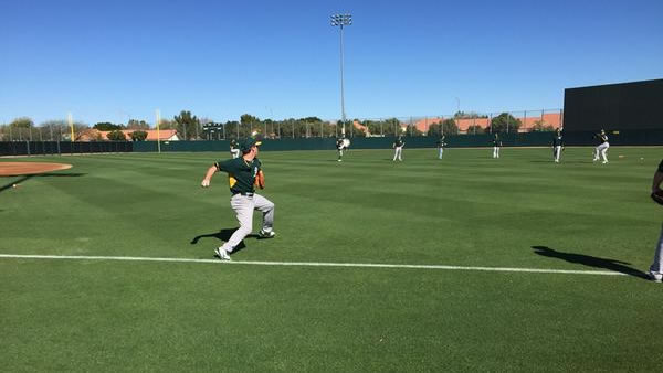 "<div class=""meta image-caption""><div class=""origin-logo origin-image none""><span>none</span></div><span class=""caption-text"">ABC7 Sports Anchor Mike Shumann checks out the Oakland A's during Spring Training 2015 in Scottsdale, Arizona on Wednesday, Feb. 25, 2015. (ABC7 News/Mike Shumann)</span></div>"