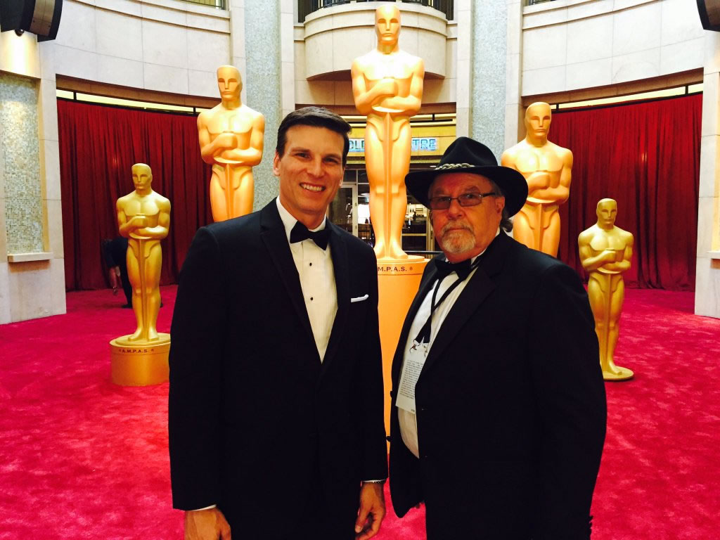 """<div class=""""meta image-caption""""><div class=""""origin-logo origin-image none""""><span>none</span></div><span class=""""caption-text"""">ABC7 News reporter, Matt Keller, with veteran photographer, Mike Clark, in front of the Dolby Theatre in Los Angeles, on Sunday, February 28, 2016. (KGO-TV)</span></div>"""