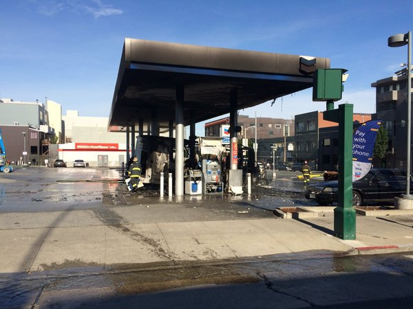 """<div class=""""meta image-caption""""><div class=""""origin-logo origin-image none""""><span>none</span></div><span class=""""caption-text"""">A firefighter checks out a bus that caught fire at a gas station in San Francisco on Monday, February 29, 2016. (@sffdpio/Twitter)</span></div>"""