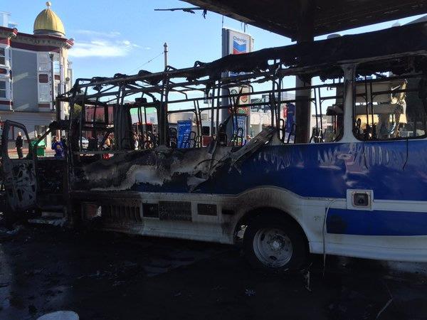 <div class='meta'><div class='origin-logo' data-origin='none'></div><span class='caption-text' data-credit='KGO-TV'>A bus caught fire at a gas station in San Francisco on Monday, February 29, 2016.</span></div>