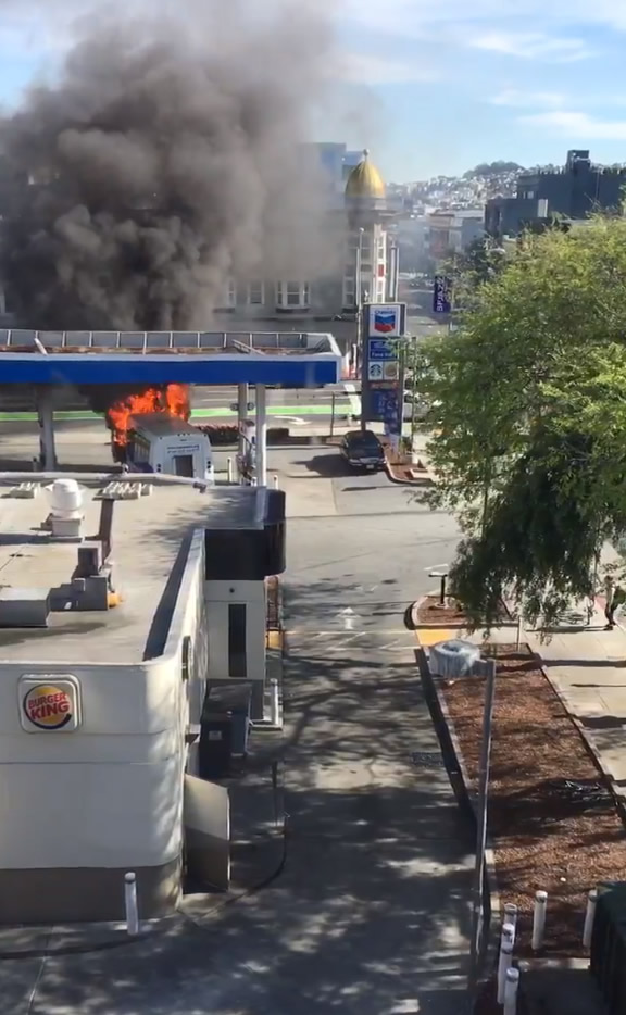 """<div class=""""meta image-caption""""><div class=""""origin-logo origin-image none""""><span>none</span></div><span class=""""caption-text"""">A bus caught fire at a gas station in San Francisco on Monday, February 29, 2016. (@mollymerp/Twitter)</span></div>"""
