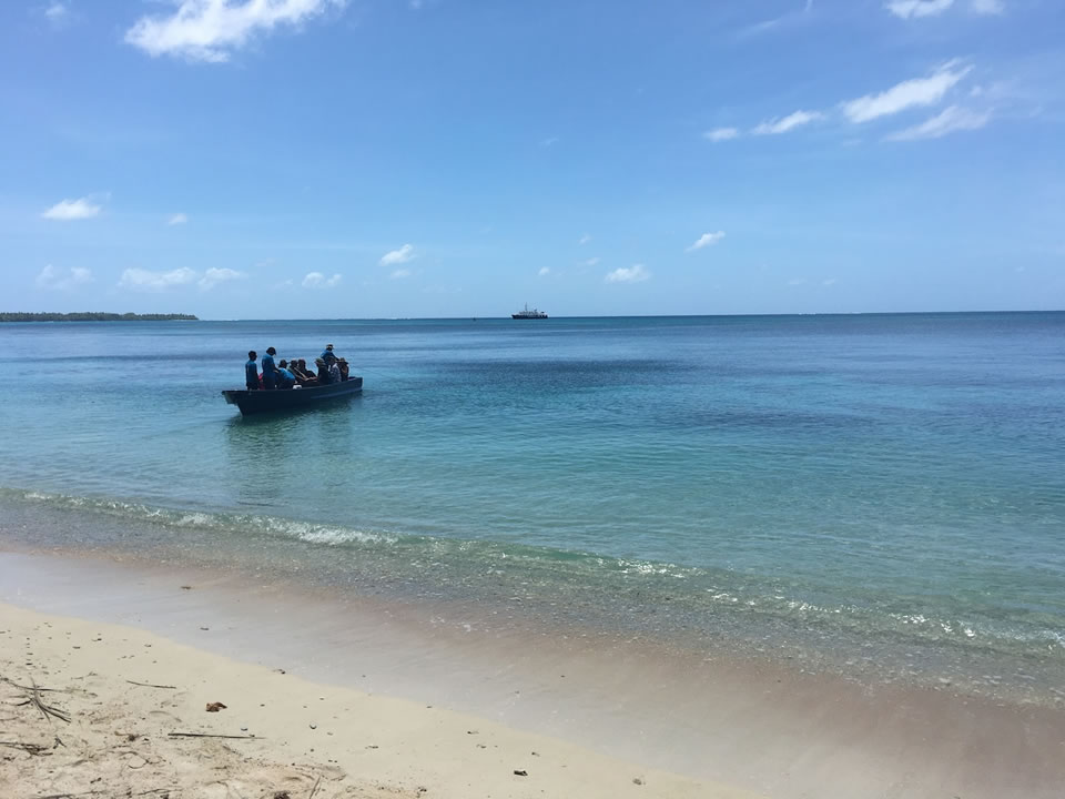 "<div class=""meta image-caption""><div class=""origin-logo origin-image none""><span>none</span></div><span class=""caption-text"">This image taken in March 2016 shows Exploratorium workers landing on the remote island of Woleai, a tiny atoll in Micronesia. (The Exploratorium)</span></div>"