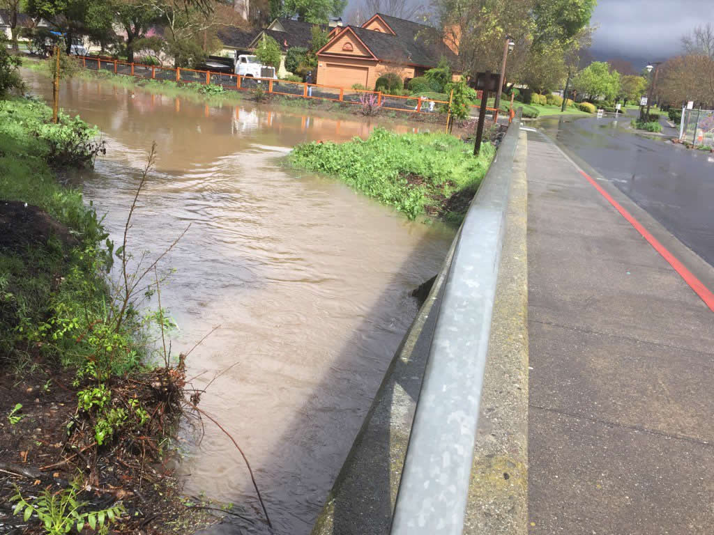 <div class='meta'><div class='origin-logo' data-origin='none'></div><span class='caption-text' data-credit='KGO-TV/Eric Thomas'>Water levels are way up at Dry creek in Yountville, Calif., due to the rain on Friday, March 11, 2016.</span></div>