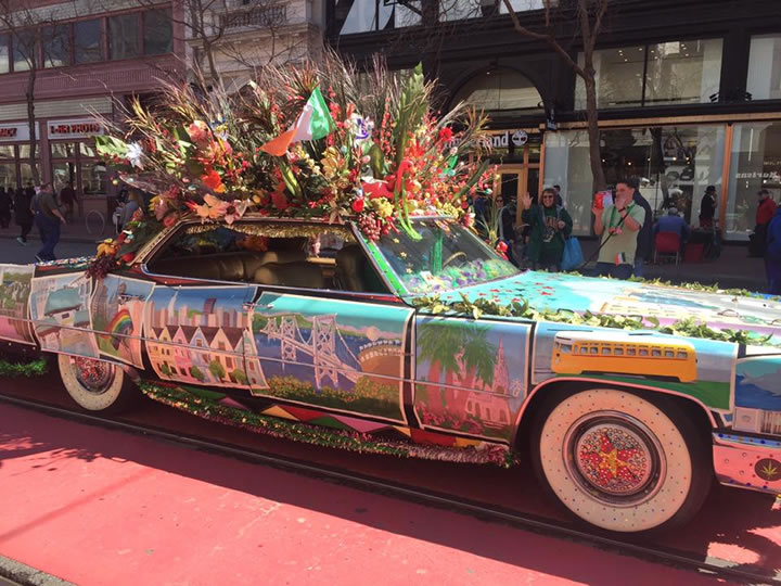 <div class='meta'><div class='origin-logo' data-origin='none'></div><span class='caption-text' data-credit='Amy Hollyfield/KGO-TV'>A decorated car is seen during the St. Patrick's Day Parade in San Francisco on Saturday March 11, 2017.</span></div>