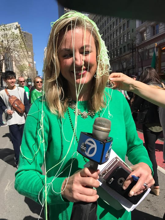 <div class='meta'><div class='origin-logo' data-origin='none'></div><span class='caption-text' data-credit='Amy Hollyfield/KGO-TV'>ABC7 reporter Amy Hollyfield was hit by silly string during the St. Patrick's Day Parade in San Francisco on Saturday March 11, 2017.</span></div>