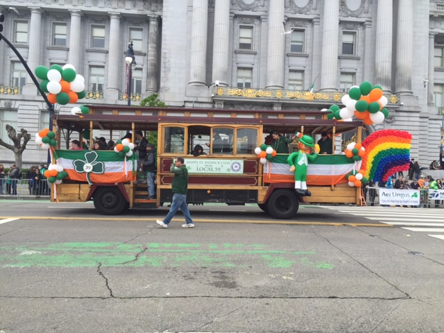 <div class='meta'><div class='origin-logo' data-origin='none'></div><span class='caption-text' data-credit='KGO-TV/Joann Hartmann'>A cable car passes by San Francisco City Hall during the St. Patrick's Day Parade in San Francisco on Saturday, March 12, 2016.</span></div>