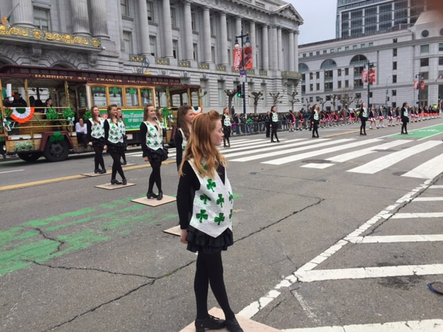 <div class='meta'><div class='origin-logo' data-origin='none'></div><span class='caption-text' data-credit='KGO-TV/Joann Hartmann'>Dancers take part in the St. Patrick's Day Parade in San Francisco on Saturday, March 12, 2016.</span></div>