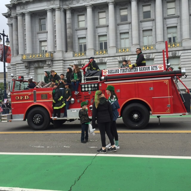 <div class='meta'><div class='origin-logo' data-origin='none'></div><span class='caption-text' data-credit='KGO-TV/Joann Hartmann'>A team from the Oakland Fire Department takes part in the St. Patrick's Day Parade in San Francisco on Saturday, March 12, 2016.</span></div>