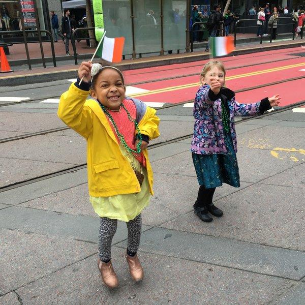 <div class='meta'><div class='origin-logo' data-origin='none'></div><span class='caption-text' data-credit='Photo submitted to KGO-TV by @sjennings76/Twitter'>Girls smile as they hold up Irish flags during the San Francisco St. Patrick's Day Parade on Saturday, March 12, 2016.</span></div>
