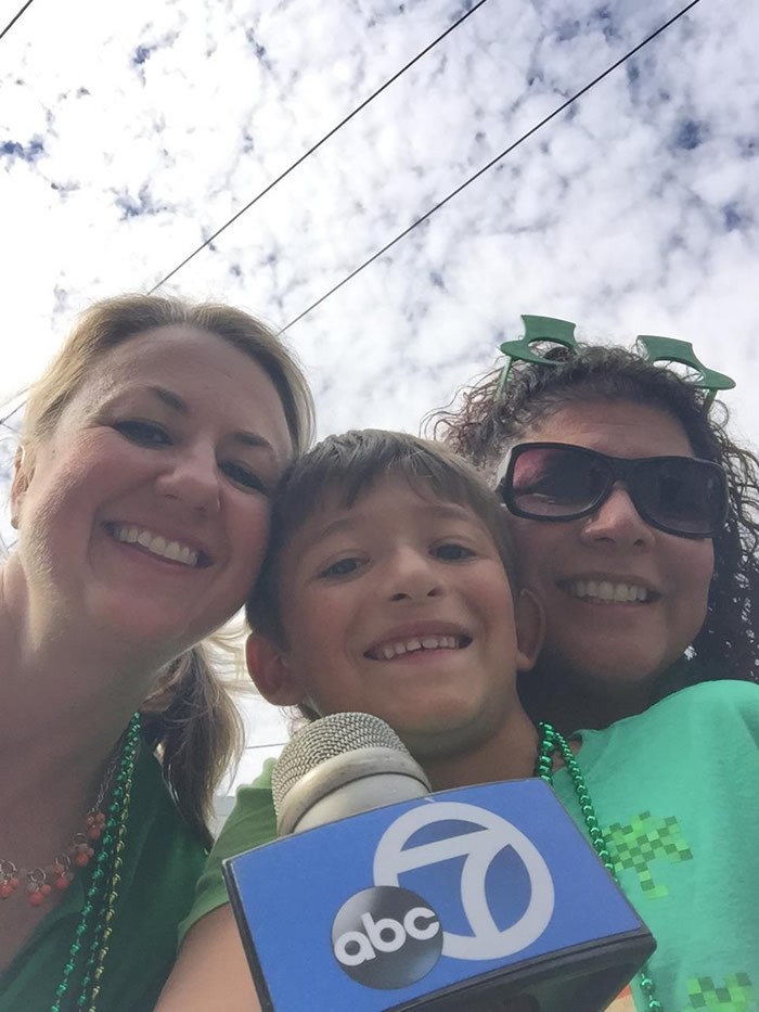 "<div class=""meta image-caption""><div class=""origin-logo origin-image kgo""><span>KGO</span></div><span class=""caption-text"">ABC7 viewer Carmen and her kid poses with ABC7's Amy Hollyfield at the annual St. Patrick's Day Parade in San Francisco on March 14, 2015. ((Photo submitted by Carmen via uReport))</span></div>"