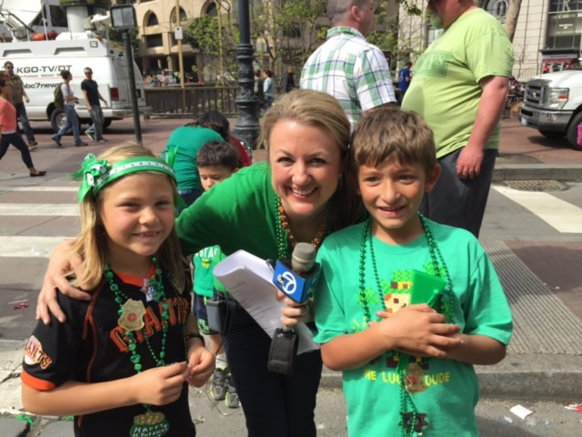 "<div class=""meta image-caption""><div class=""origin-logo origin-image kgo""><span>KGO</span></div><span class=""caption-text"">ABC7 viewer Carmen and her kids pose with ABC7's Amy Hollyfield at the annual St. Patrick's Day Parade in San Francisco on March 14, 2015. ((Photo submitted by Carmen via uReport))</span></div>"