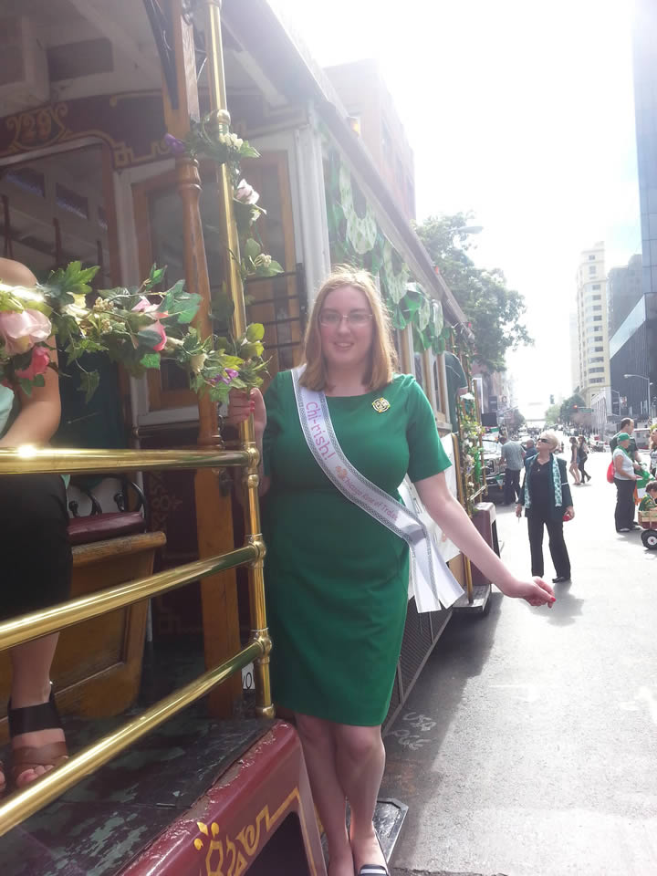 "<div class=""meta image-caption""><div class=""origin-logo origin-image kgo""><span>KGO</span></div><span class=""caption-text"">Mary from Chicago poses on a cable car at the annual St. Patrick's Day Parade in San Francisco on March 14, 2015. ((Photo submitted by Mary via uReport))</span></div>"