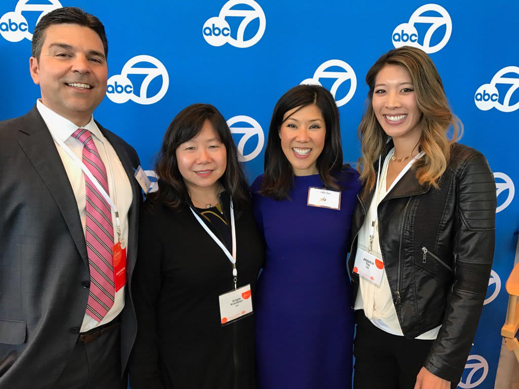 <div class='meta'><div class='origin-logo' data-origin='none'></div><span class='caption-text' data-credit='Photo Courtesy of Angie Krackeler/Twitter'>ABC7's Mike Nicco and Kristen Sze with attendees at the Professional BusinessWomen of California Conference in San Francisco on March, 28, 2017.</span></div>