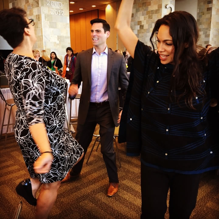 <div class='meta'><div class='origin-logo' data-origin='none'></div><span class='caption-text' data-credit='KGO-TV'>ABC7's Drew Tuma dances with Rosario Dawson and Isabel Celeste at the Professional BusinessWomen of California Conference in San Francisco on March, 28, 2017.</span></div>