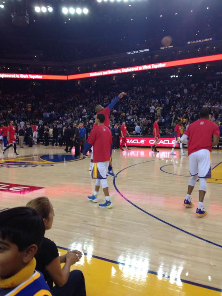 <div class='meta'><div class='origin-logo' data-origin='none'></div><span class='caption-text' data-credit='Photo submitted by Ricky/Facebook'>Golden State Warriors fan Ricky captured this photo of the Dubs warming up before a game. Send your fan photos to uReport@kgo-tv.com!</span></div>