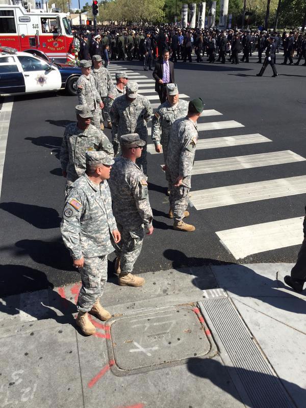 <div class='meta'><div class='origin-logo' data-origin='KGO'></div><span class='caption-text' data-credit=''>U.S. soldiers attend the memorial service for SJPD Officer Michael Johnson on Thursday, April 2, 2015. (KGO-TV)</span></div>