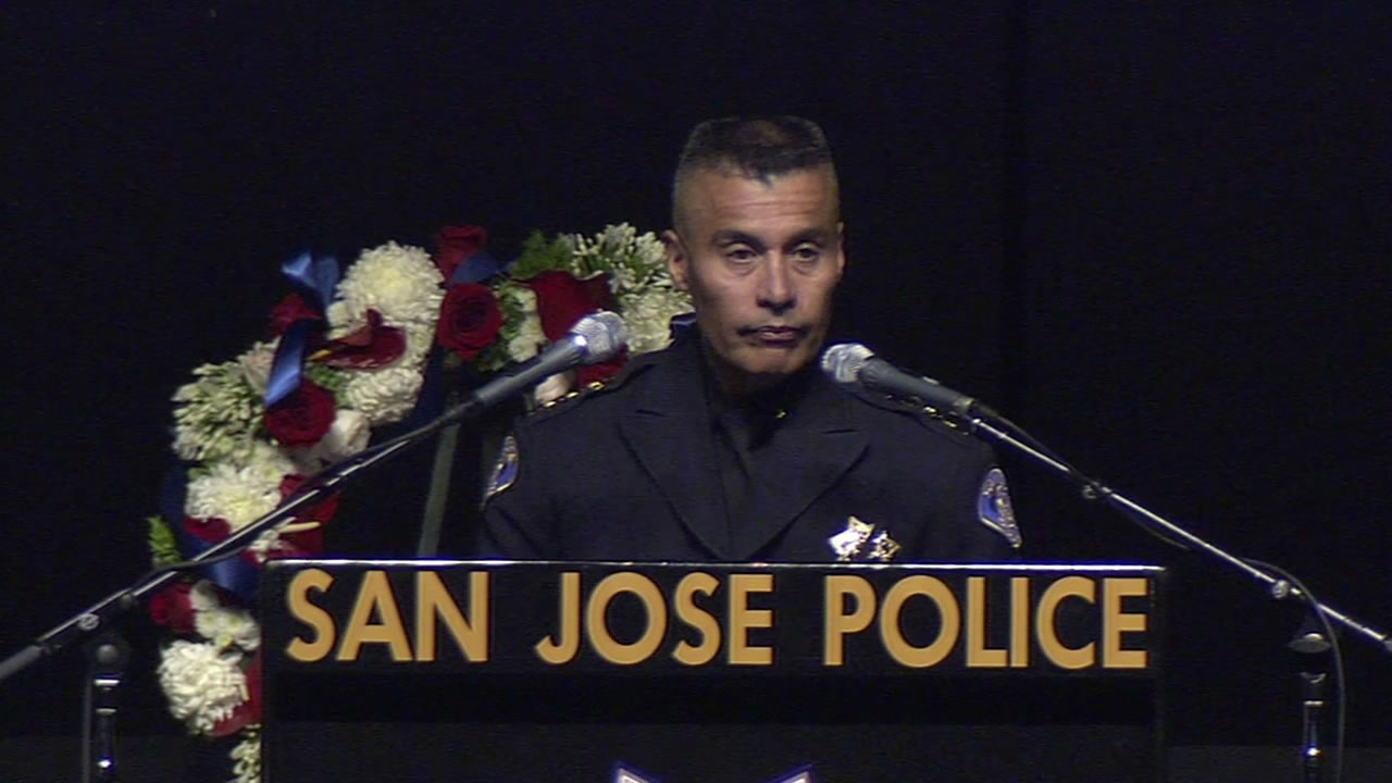<div class='meta'><div class='origin-logo' data-origin='KGO'></div><span class='caption-text' data-credit=''>&#34;Today, we are going to honor Michael,&#34; said SJPD Chief of Police Larry Esquivel at the SAP Center on April 2, 2015. (KGO-TV/Matt Keller)</span></div>