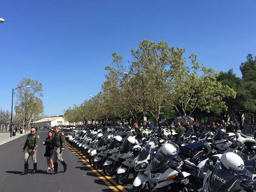 <div class='meta'><div class='origin-logo' data-origin='KGO'></div><span class='caption-text' data-credit=''>San Jose police motorcycles lined up outside the SAP Center on Thursday, March 2, 2105. (KGO-TV)</span></div>