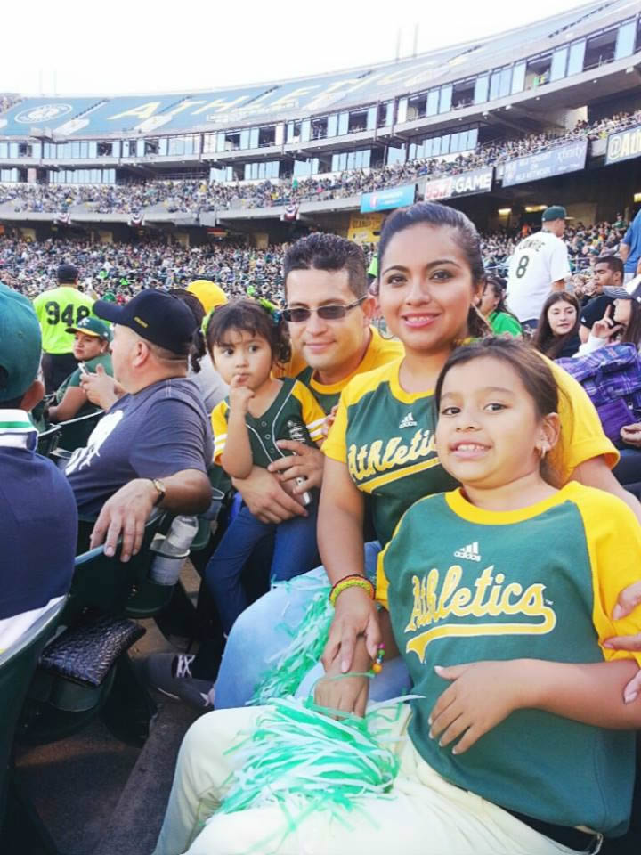 """<div class=""""meta image-caption""""><div class=""""origin-logo origin-image none""""><span>none</span></div><span class=""""caption-text"""">Let's go A's!  Send in your Oakland Athletics pride photos to ABC7 News and we may share them on TV! (Photo submitted to KGO-TV by Zoily A./Facebook)</span></div>"""