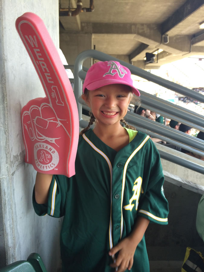 """<div class=""""meta image-caption""""><div class=""""origin-logo origin-image none""""><span>none</span></div><span class=""""caption-text"""">Let's go A's!  Send in your Oakland Athletics pride photos to ABC7 News and we may share them on TV! (Photo submitted by Sara B./KGO-TV uReport)</span></div>"""