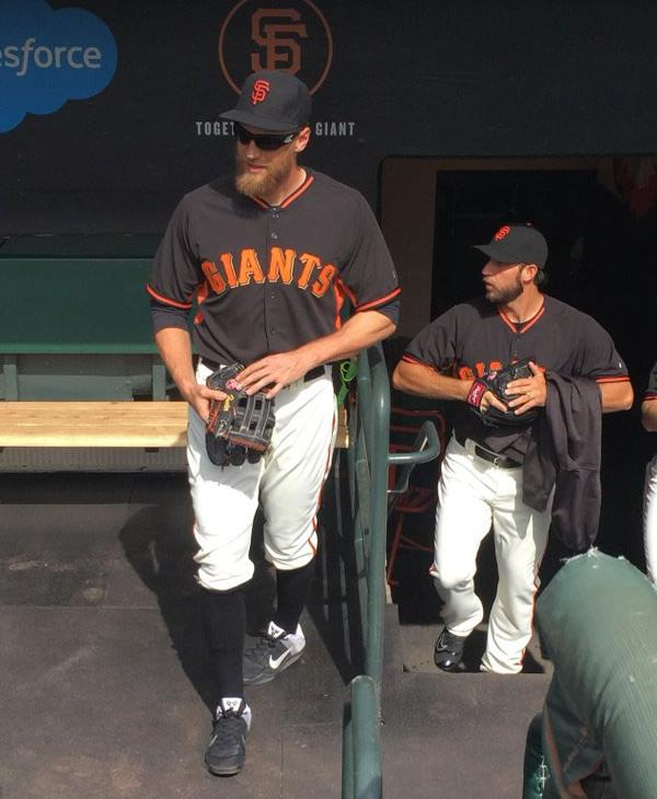 <div class='meta'><div class='origin-logo' data-origin='none'></div><span class='caption-text' data-credit='KGO-TV/ Matt Keller'>Hunter Pence stands in the dugout at AT&T Park at the season opener April 7, 2016 in San Francisco.</span></div>