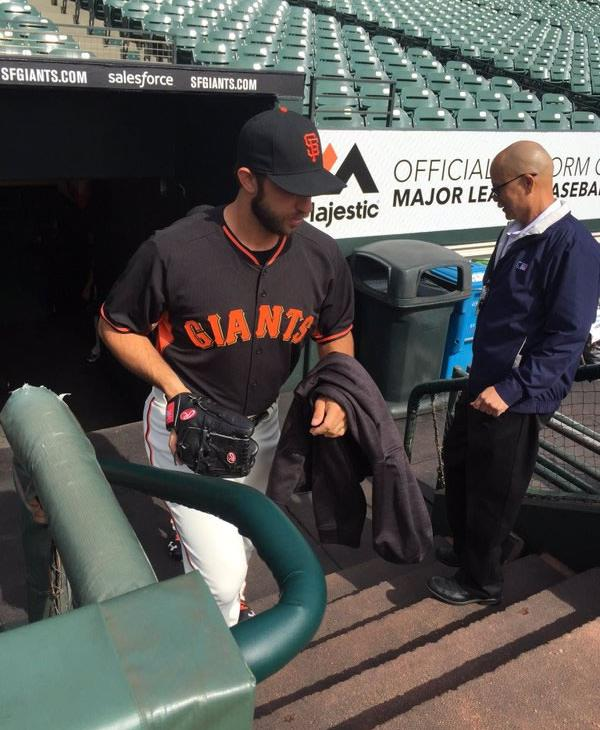 <div class='meta'><div class='origin-logo' data-origin='none'></div><span class='caption-text' data-credit='KGO-TV/ Matt Keller'>Giants pitcher Madison Bumgarner emerges from the dugout at AT&T Park April 7, 2016.</span></div>