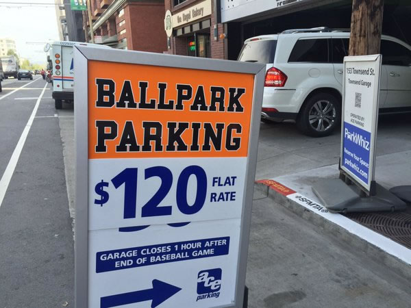 <div class='meta'><div class='origin-logo' data-origin='none'></div><span class='caption-text' data-credit='KGO-TV/ Juan Carlos Guerrero'>This image show parking prices near AT&T Park on the the season opener in San Francisco April 7, 2016.</span></div>