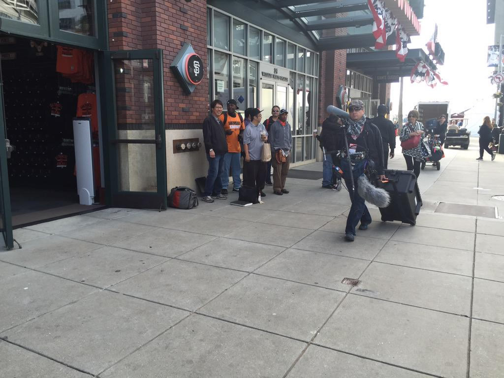 "<div class=""meta image-caption""><div class=""origin-logo origin-image none""><span>none</span></div><span class=""caption-text"">It's opening day at AT&T Park!  Fans out early trying to get autographs from players. SF Giants celebrate last year's world championship with with fans on Monday, April 13, 2015. (KGO-TV/Janet O)</span></div>"